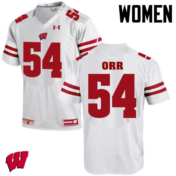 Women Winsconsin Badgers #54 Chris Orr College Football Jerseys-White
