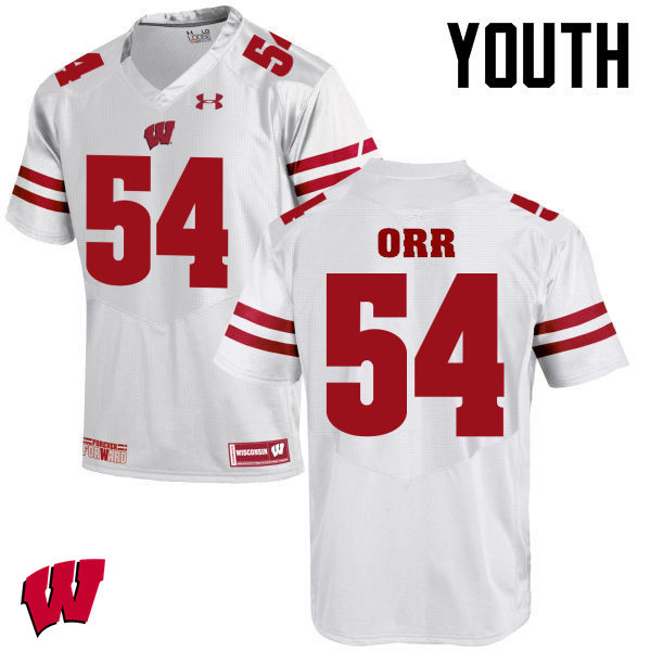 Youth Winsconsin Badgers #54 Chris Orr College Football Jerseys-White