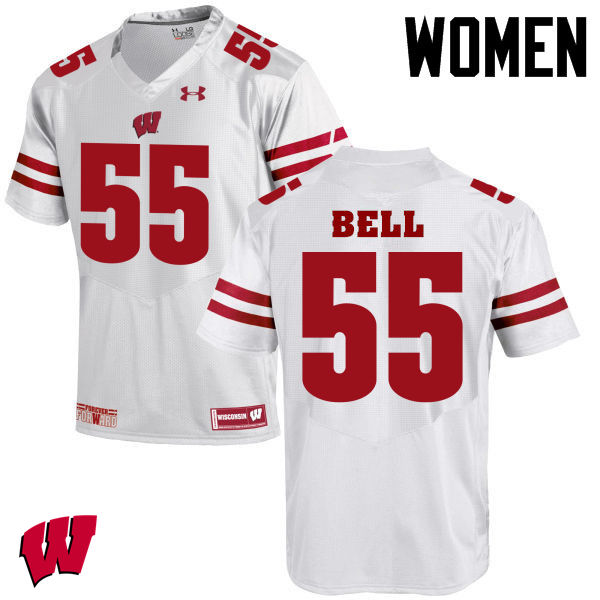Women Winsconsin Badgers #55 Christian Bell College Football Jerseys-White
