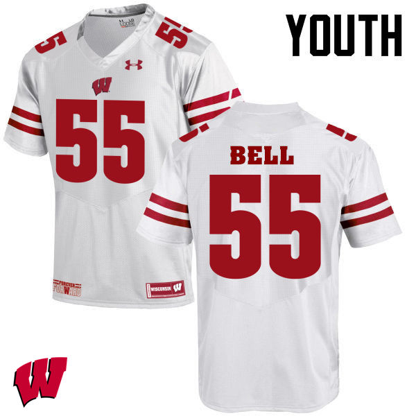 Youth Winsconsin Badgers #55 Christian Bell College Football Jerseys-White