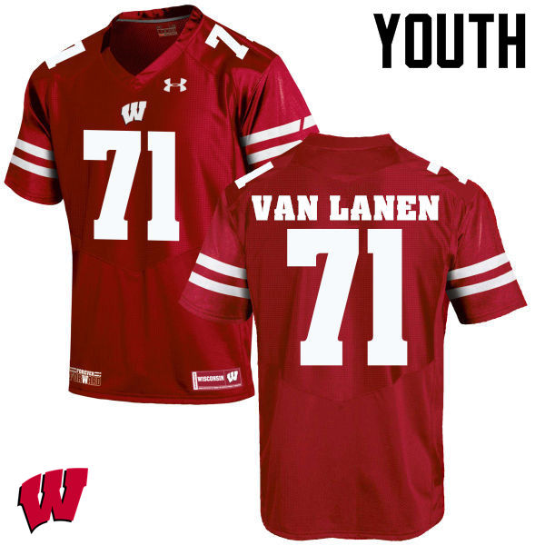 Youth Wisconsin Badgers #71 Cole Van Lanen College Football Jerseys-Red