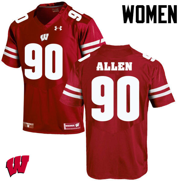 Women Winsconsin Badgers #90 Connor Allen College Football Jerseys-Red