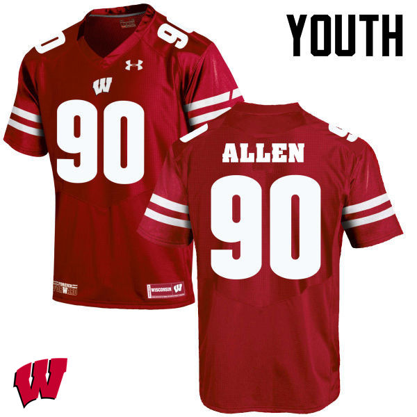 Youth Winsconsin Badgers #90 Connor Allen College Football Jerseys-Red