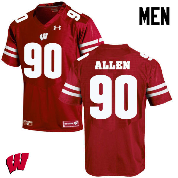 Men Winsconsin Badgers #90 Connor Allen College Football Jerseys-Red