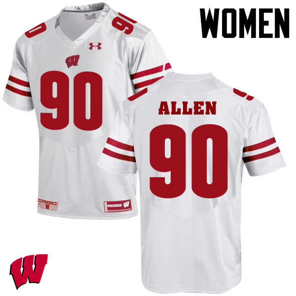 Women Winsconsin Badgers #90 Connor Allen College Football Jerseys-White