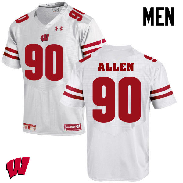Men Winsconsin Badgers #90 Connor Allen College Football Jerseys-White