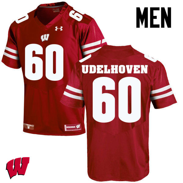 Men Wisconsin Badgers #60 Connor Udelhoven College Football Jerseys-Red