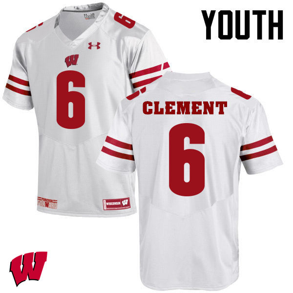 Youth Wisconsin Badgers #6 Corey Clement College Football Jerseys-White