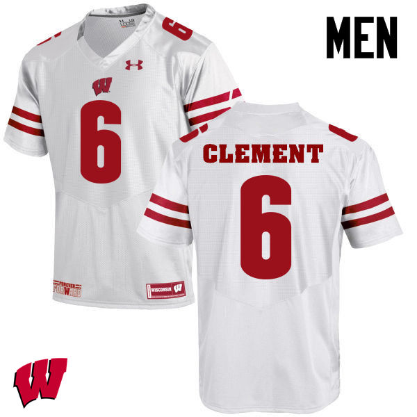 Men Wisconsin Badgers #6 Corey Clement College Football Jerseys-White
