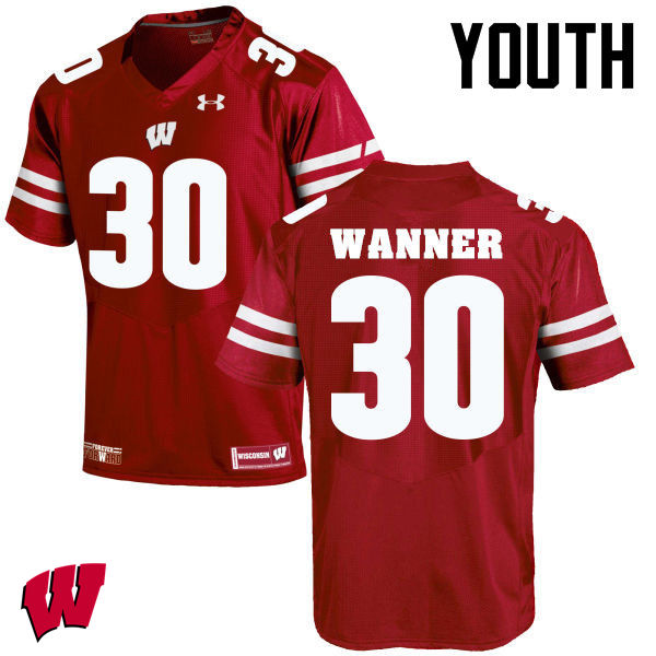 Youth Winsconsin Badgers #30 Coy Wanner College Football Jerseys-Red