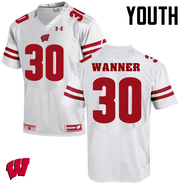 Youth Winsconsin Badgers #30 Coy Wanner College Football Jerseys-White