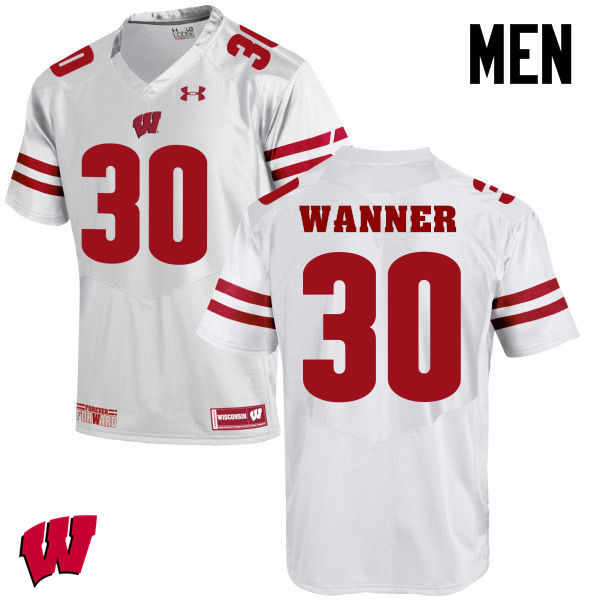 Men Winsconsin Badgers #30 Coy Wanner College Football Jerseys-White