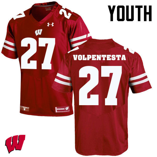 Youth Winsconsin Badgers #27 Cristian Volpentesta College Football Jerseys-Red