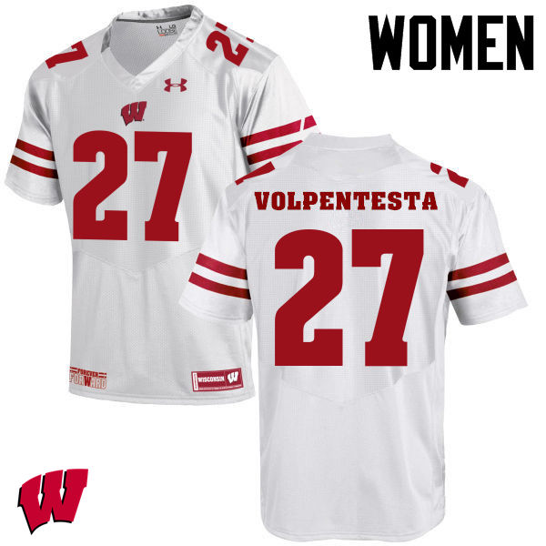 Women Winsconsin Badgers #27 Cristian Volpentesta College Football Jerseys-White