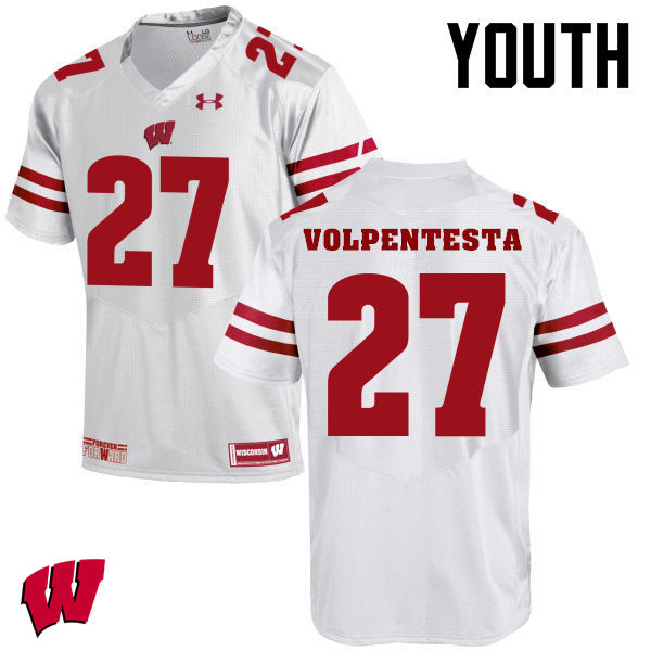 Youth Winsconsin Badgers #27 Cristian Volpentesta College Football Jerseys-White