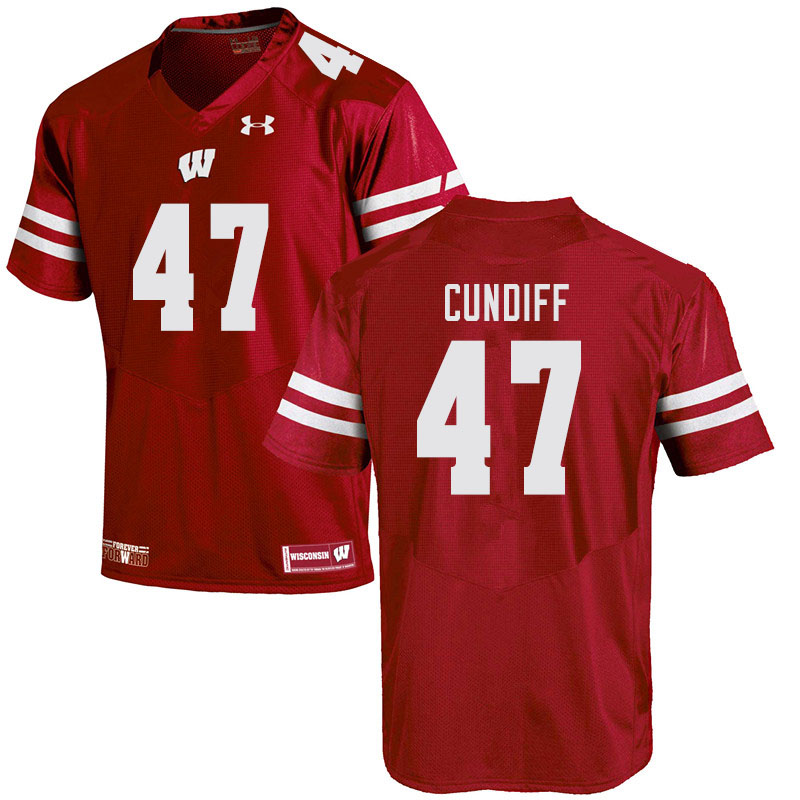 Men #47 Clay Cundiff Wisconsin Badgers College Football Jerseys Sale-Red