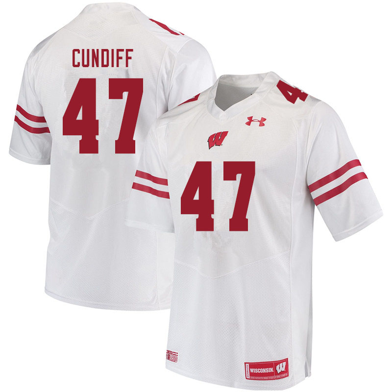 Men #47 Clay Cundiff Wisconsin Badgers College Football Jerseys Sale-White
