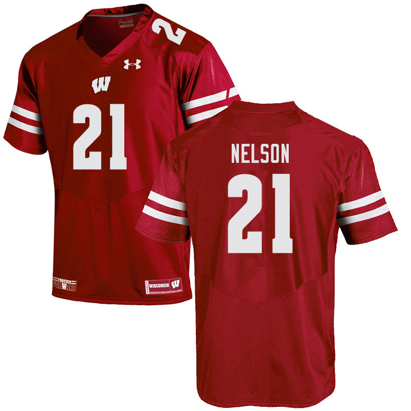 Men #21 Cooper Nelson Wisconsin Badgers College Football Jerseys Sale-Red