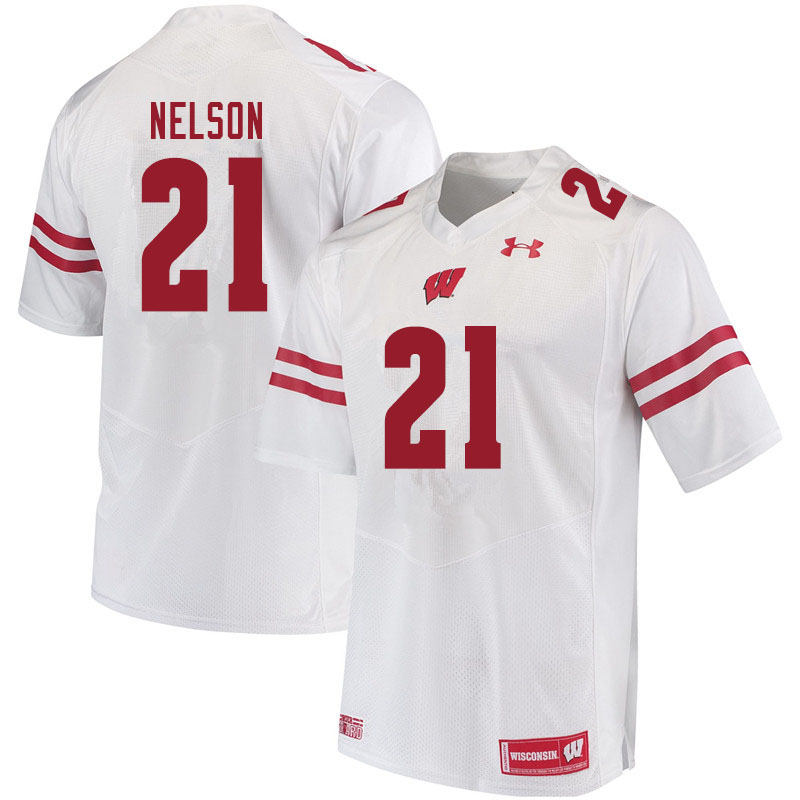 Men #21 Cooper Nelson Wisconsin Badgers College Football Jerseys Sale-White