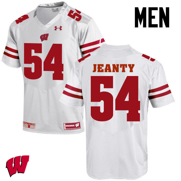 Men Wisconsin Badgers #54 Dallas Jeanty College Football Jerseys-White