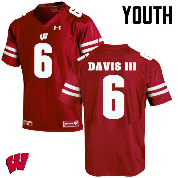 Youth Winsconsin Badgers #6 Danny Davis III College Football Jerseys-Red