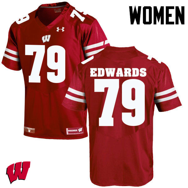 Women Wisconsin Badgers #79 David Edwards College Football Jerseys-Red