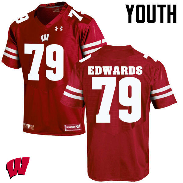 Youth Wisconsin Badgers #79 David Edwards College Football Jerseys-Red