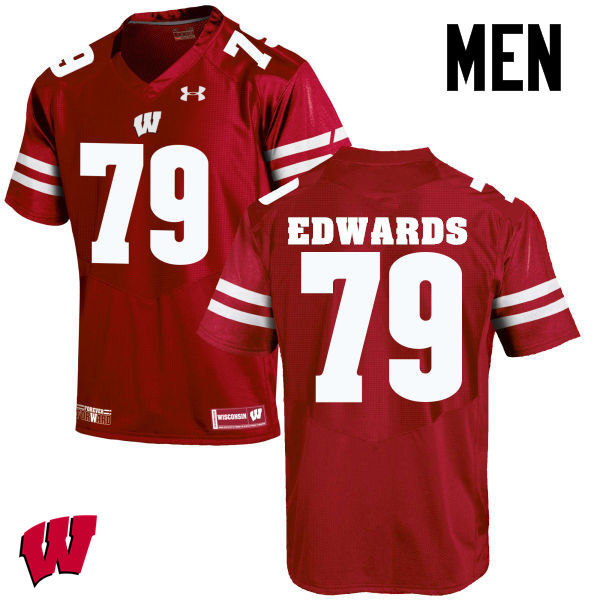 Men Wisconsin Badgers #79 David Edwards College Football Jerseys-Red