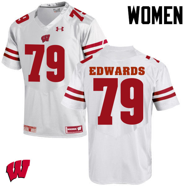 Women Wisconsin Badgers #79 David Edwards College Football Jerseys-White