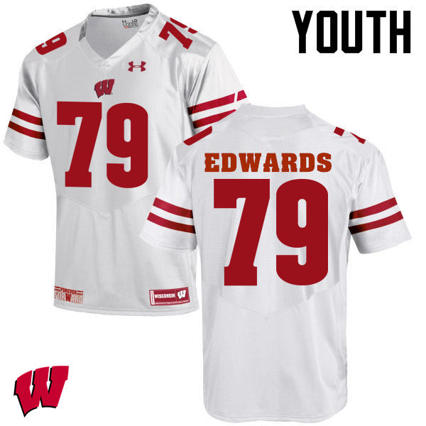 Youth Wisconsin Badgers #79 David Edwards College Football Jerseys-White
