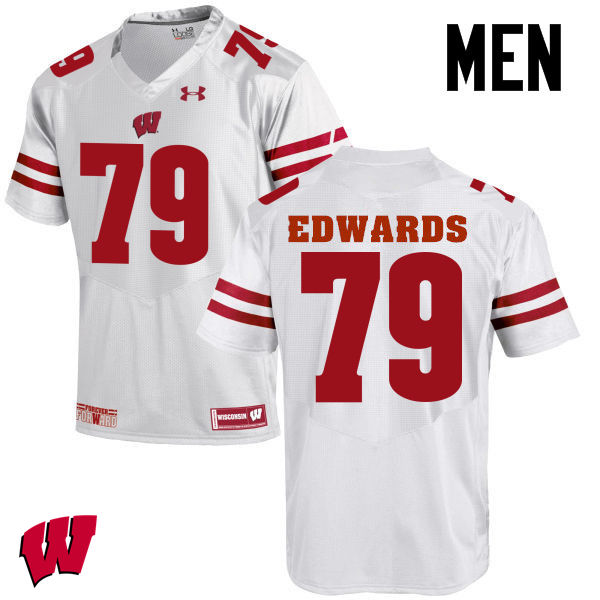Men Wisconsin Badgers #79 David Edwards College Football Jerseys-White