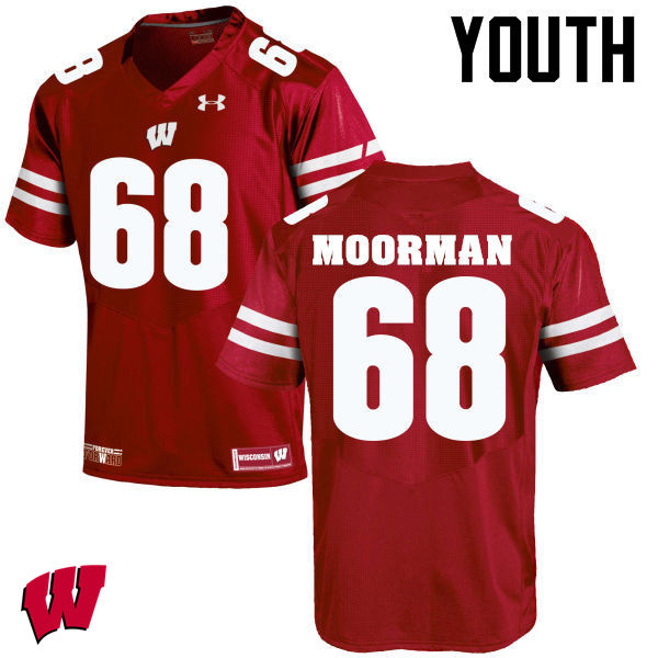 Youth Wisconsin Badgers #68 David Moorman College Football Jerseys-Red