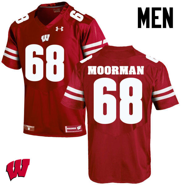 Men Wisconsin Badgers #68 David Moorman College Football Jerseys-Red