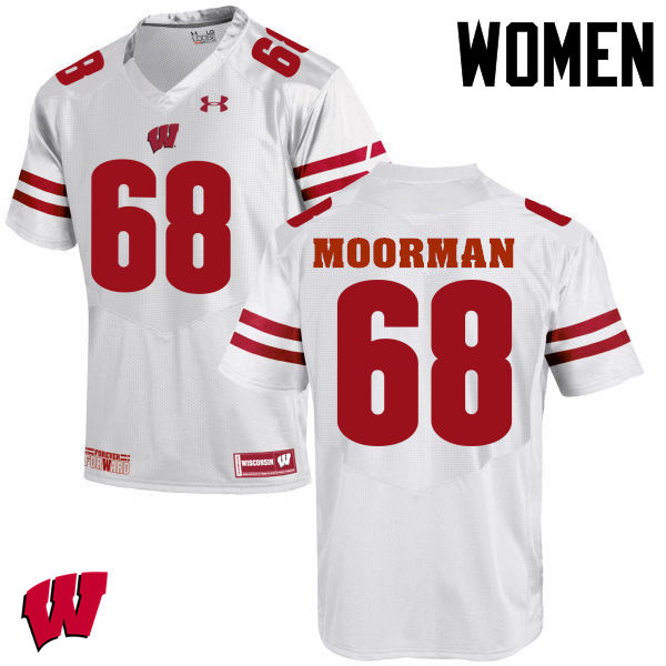 Women Wisconsin Badgers #68 David Moorman College Football Jerseys-White