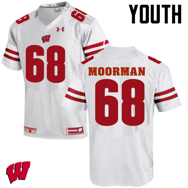 Youth Wisconsin Badgers #68 David Moorman College Football Jerseys-White