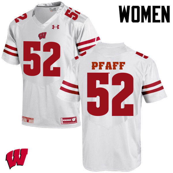Women Wisconsin Badgers #52 David Pfaff College Football Jerseys-White