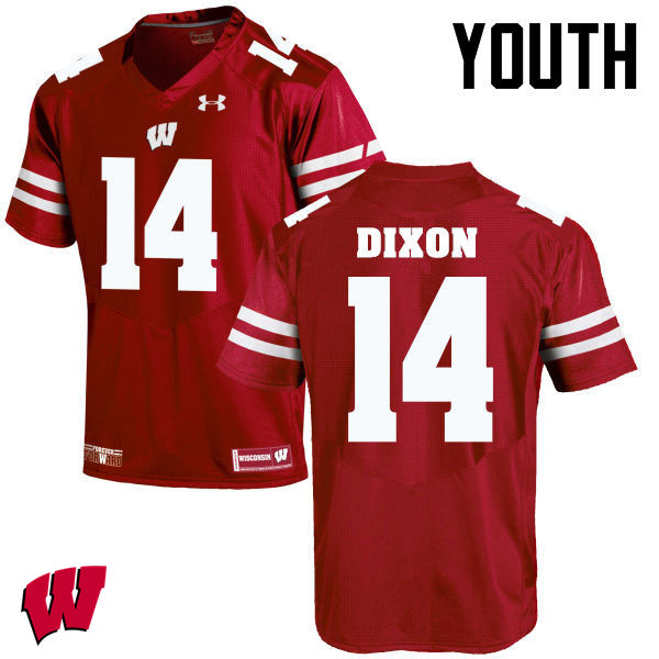 Youth Wisconsin Badgers #14 DCota Dixon College Football Jerseys-Red