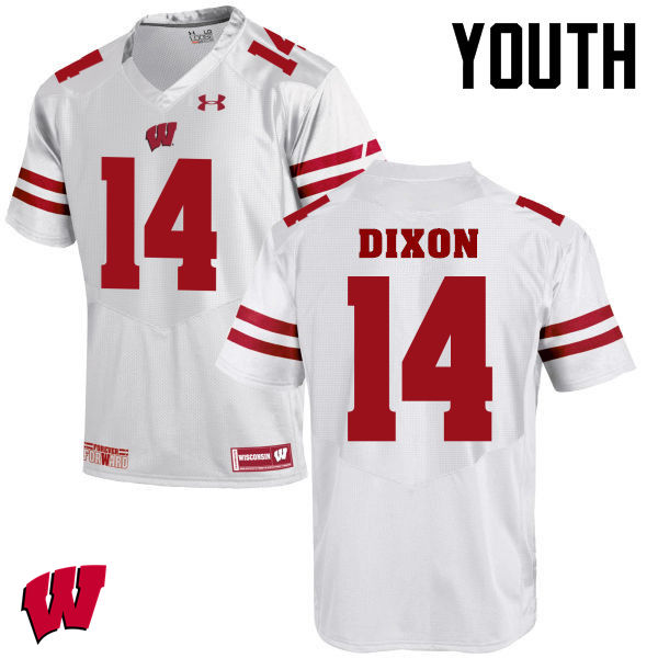 Youth Winsconsin Badgers #14 D'Cota Dixon College Football Jerseys-White