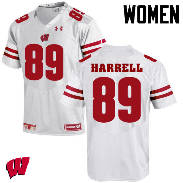 Women Winsconsin Badgers #89 Deron Harrell College Football Jerseys-White