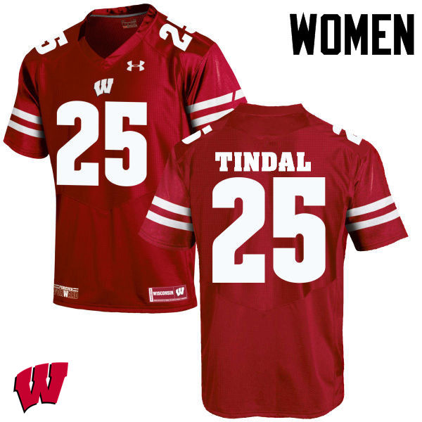 Women Wisconsin Badgers #25 Derrick Tindal College Football Jerseys-Red