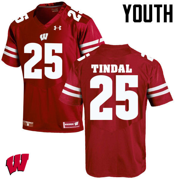 Youth Wisconsin Badgers #25 Derrick Tindal College Football Jerseys-Red