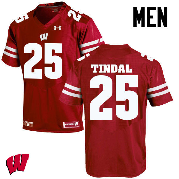 Men Wisconsin Badgers #25 Derrick Tindal College Football Jerseys-Red