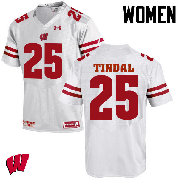 Women Wisconsin Badgers #25 Derrick Tindal College Football Jerseys-White