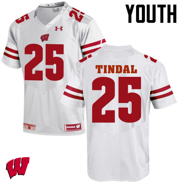 Youth Wisconsin Badgers #25 Derrick Tindal College Football Jerseys-White
