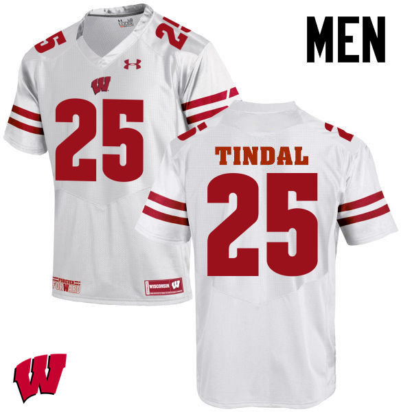 Men Wisconsin Badgers #25 Derrick Tindal College Football Jerseys-White