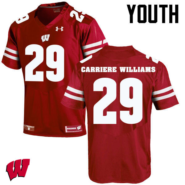 Youth Wisconsin Badgers #29 Dontye Carriere-Williams College Football Jerseys-Red