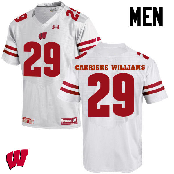Men Wisconsin Badgers #29 Dontye Carriere-Williams College Football Jerseys-White