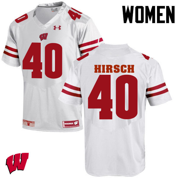 Women Wisconsin Badgers #40 Elroy Hirsch College Football Jerseys-White