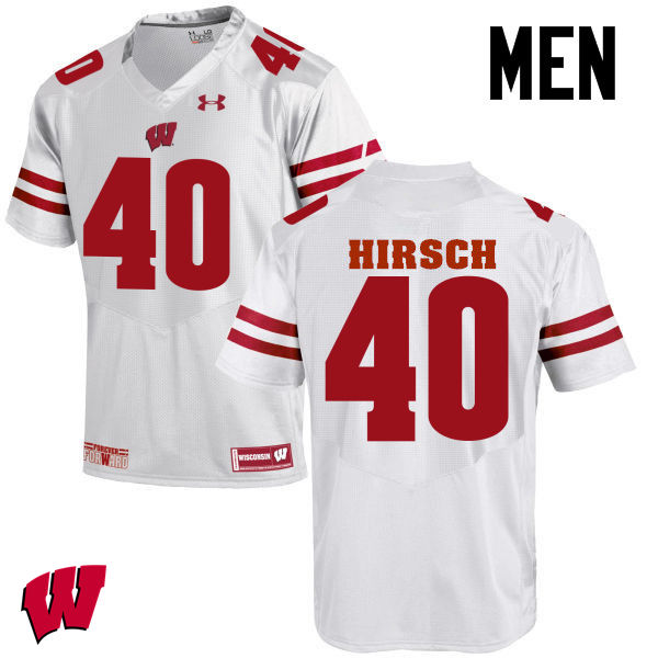 Men Wisconsin Badgers #40 Elroy Hirsch College Football Jerseys-White