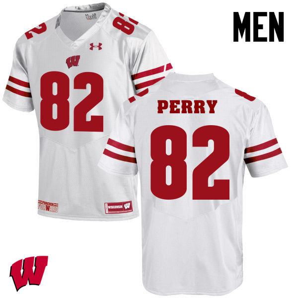Men Winsconsin Badgers #82 Emmet Perry College Football Jerseys-White